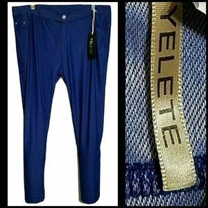 Yelete Blue Denim Stretchy Jeggings Pants 2XL